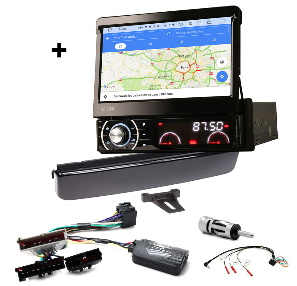 Kit d\'intégration Ford Cougar, Fiesta, Focus, Galaxy, Mondeo et Puma + Poste 1DIN avec écran tactile