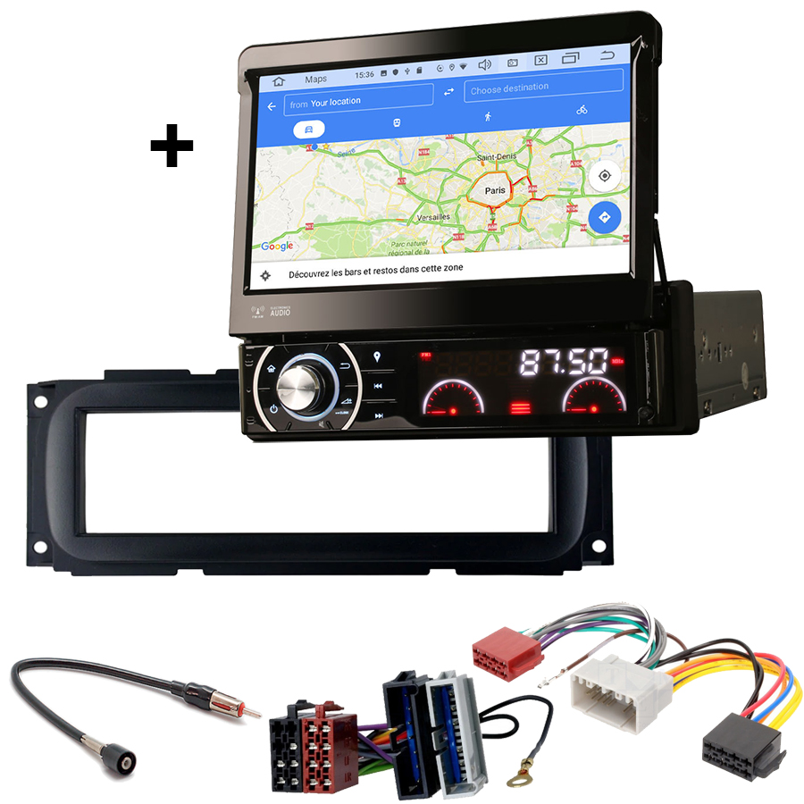 Kit d\'intégration Dodge RAM, Neon et Dakota de 2000 à 2005 + Poste 1DIN avec écran tactile