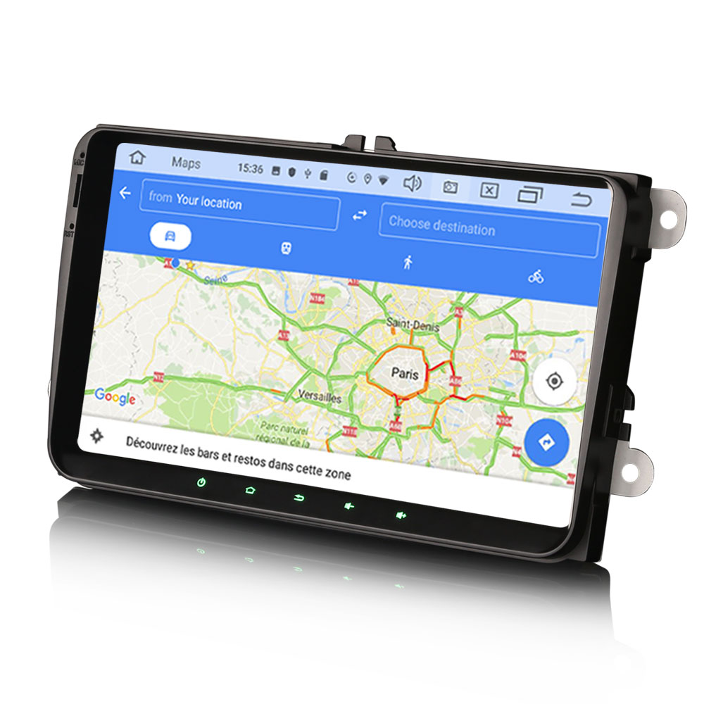Ecran tactile Android 10.0 + Apple Carplay sans fil Volkswagen Amarok Coccinelle Sharan Transporter Polo Caddy Eos Golf Scirocco Passat Tiguan et Touran