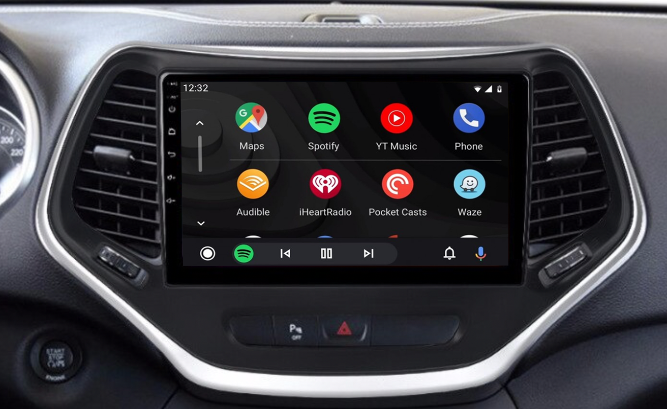 Ecran tactile QLED Android 11.0 + Apple Carplay sans fil Jeep Cherokee de 2014 à 2018