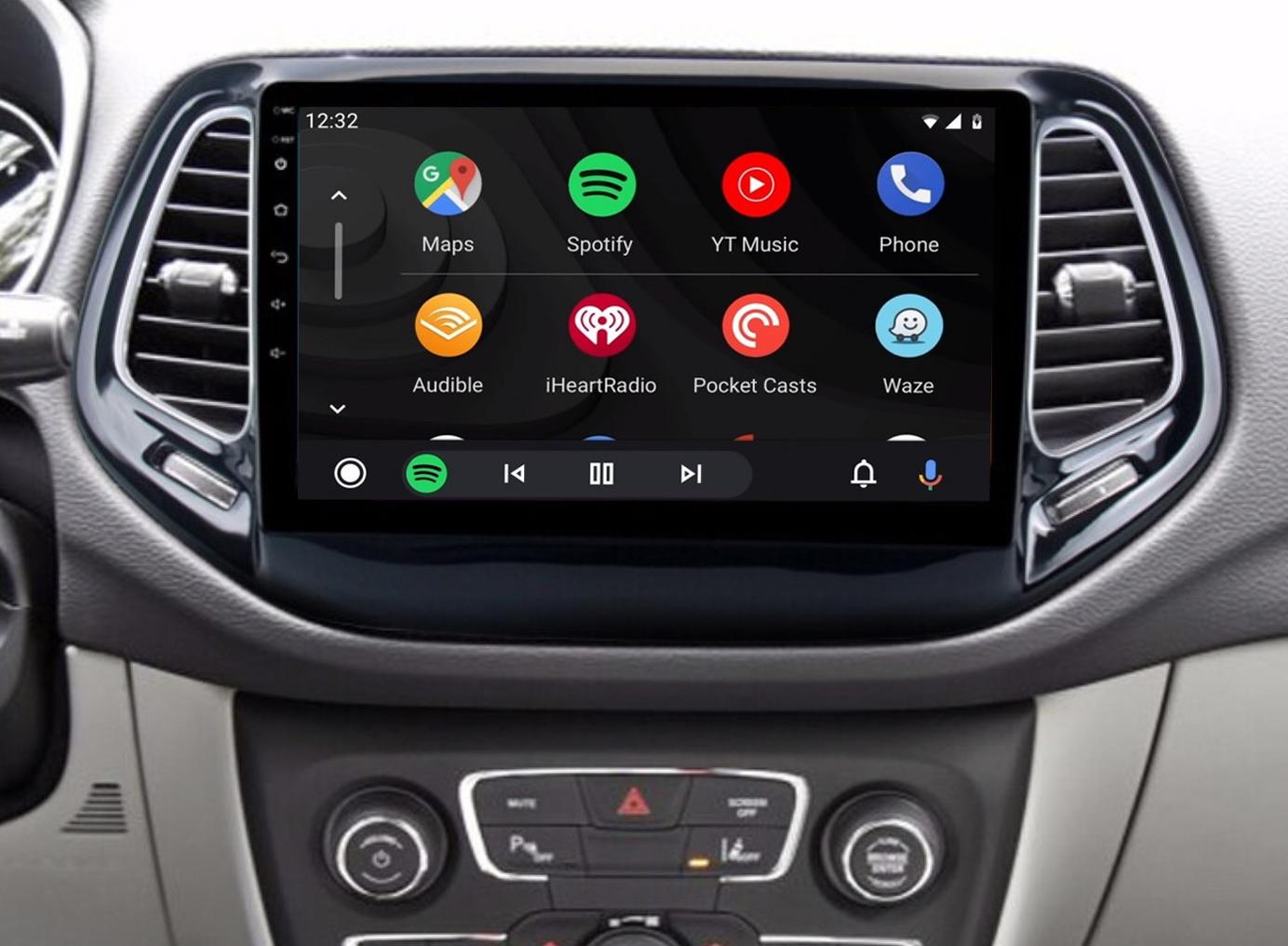 Ecran tactile QLED Android 11.0 + Apple Carplay sans fil Jeep Compass depuis 2017