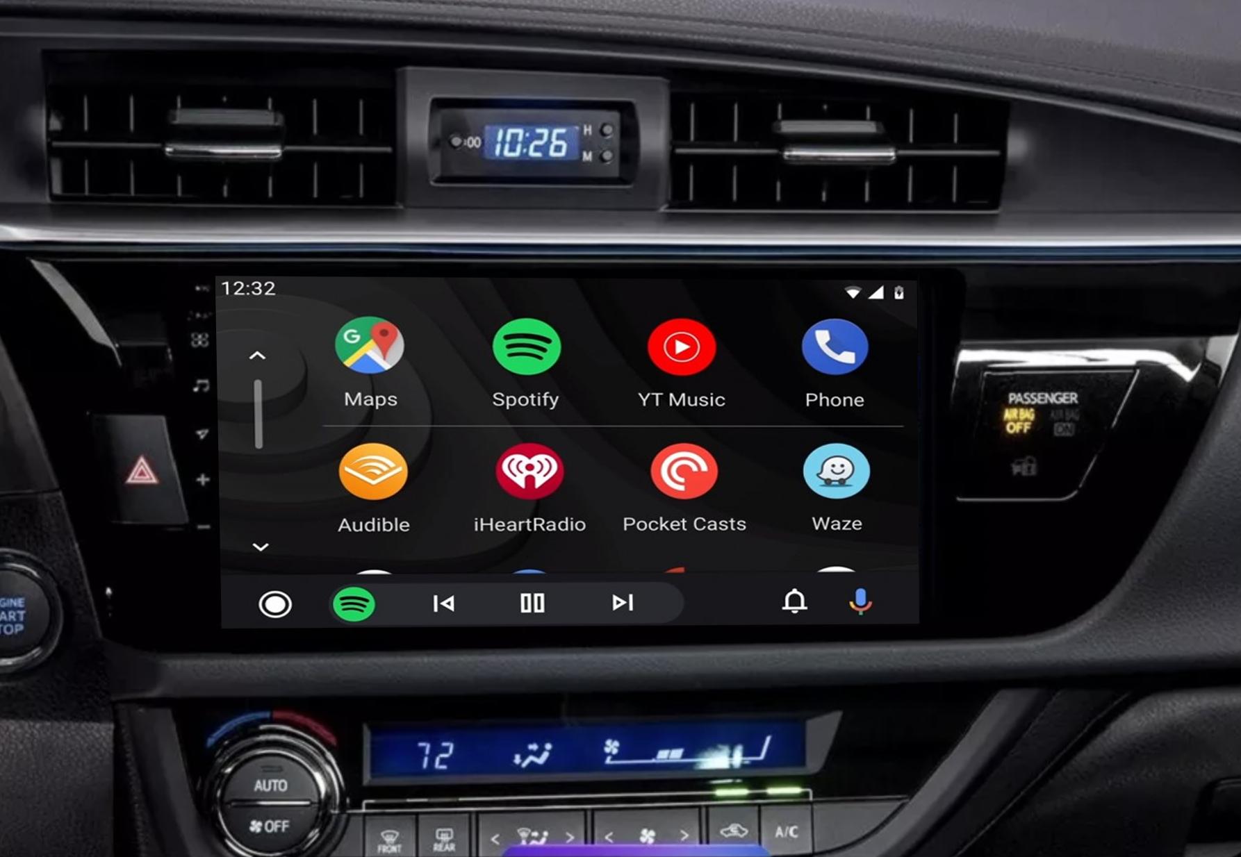 Ecran tactile QLED Android 11.0 Apple Carplay sans fil Toyota Corolla et Auris de 2013 à 2016