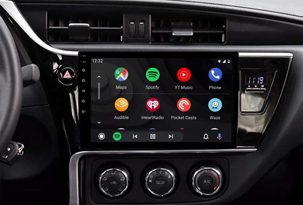 Ecran tactile QLED Android 11.0 Apple Carplay sans fil Toyota Auris de 2015 à 2018 et Corolla de 2017 à 2018