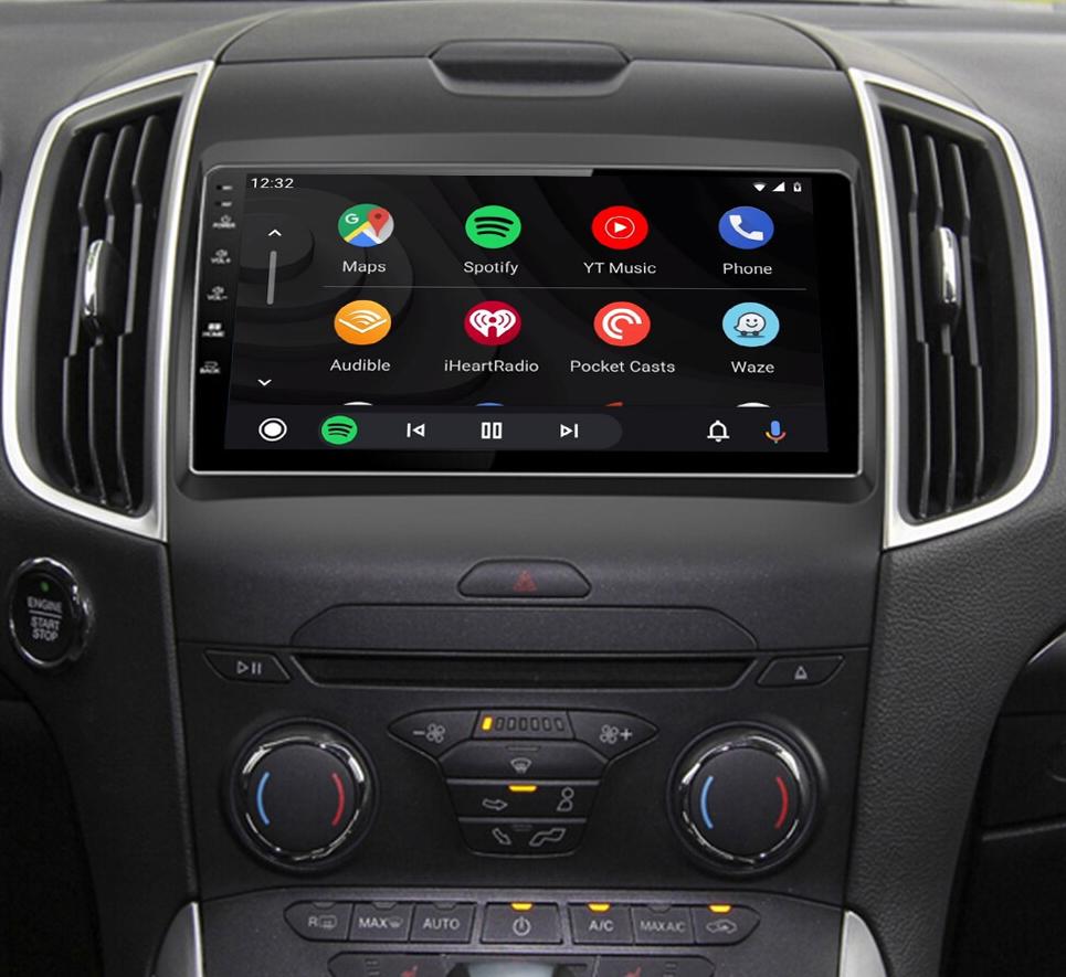 Ecran tactile QLED Android 11.0 + Apple Carplay sans fil Ford Edge de 2014 à 2018