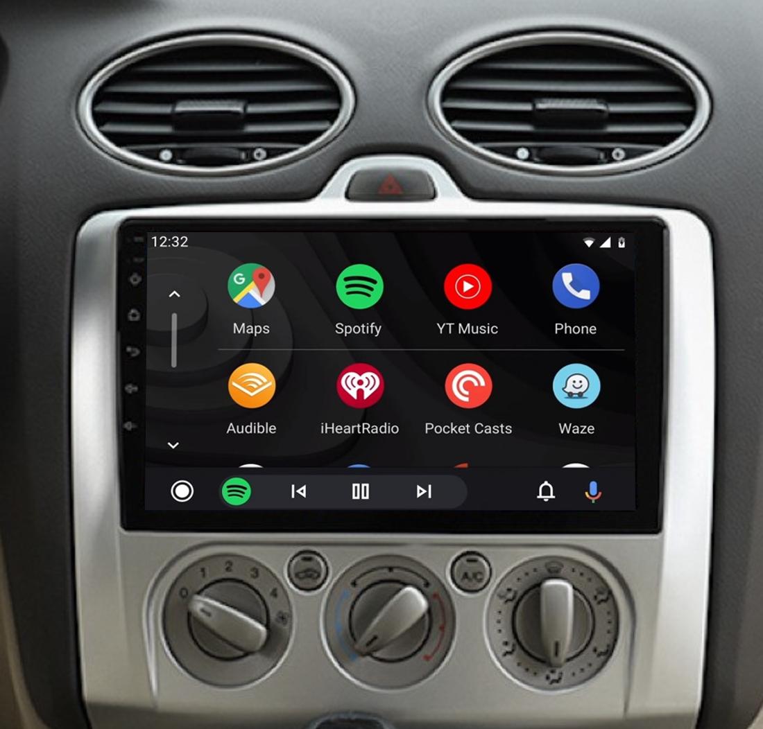 Ecran tactile QLED Android 11.0 + Apple Carplay sans fil Ford Focus de 2004 à 2010