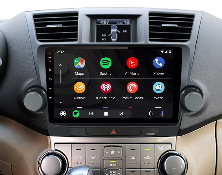 Ecran tactile QLED Android 11.0 + Apple Carplay sans fil Toyota Highlander de 2008 à 2014