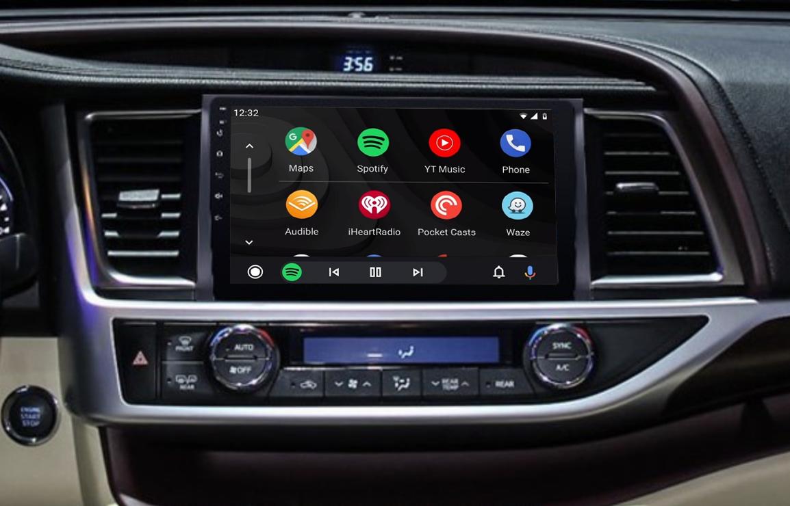 Ecran tactile QLED Android 11.0 + Apple Carplay sans fil Toyota Highlander depuis 2015