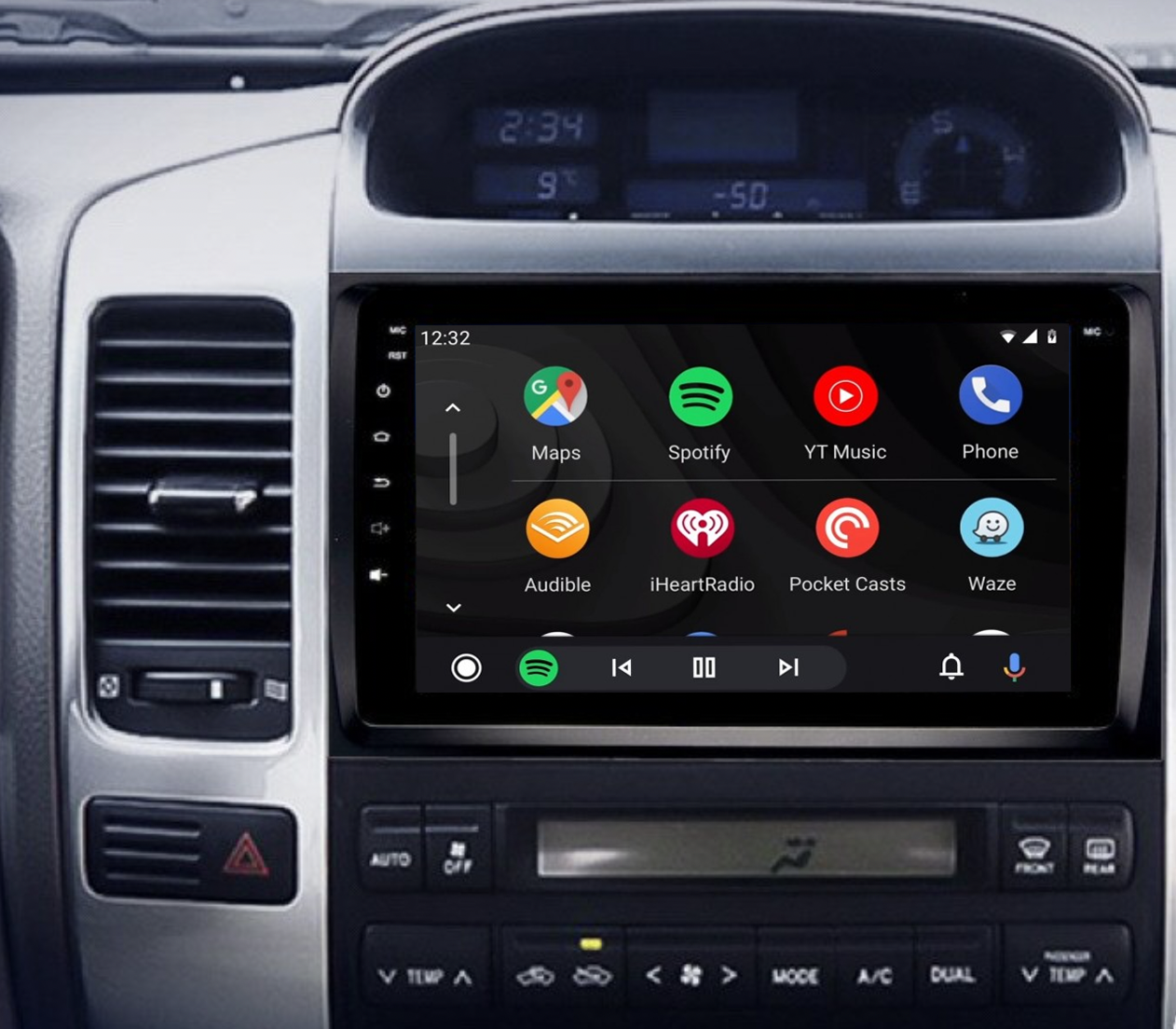 Ecran tactile QLED Android 11.0 + Apple Carplay sans fil Toyota Land Cruiser J120 de 2002 à 2009