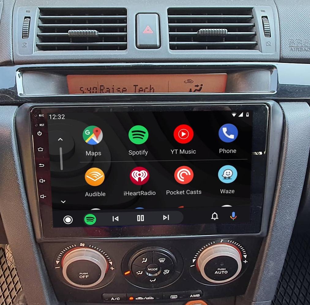 Ecran tactile QLED Android 11.0 + Apple Carplay sans fil Mazda 3 de 2003 à 2007