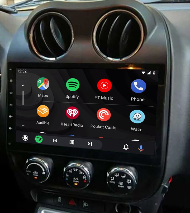 Ecran tactile QLED Android 11.0 + Apple Carplay sans fil Jeep Compass et Patriot
