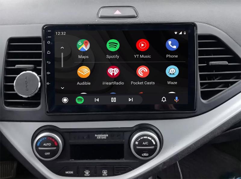 Ecran tactile QLED Android 11.0 + Apple Carplay sans fil Kia Picanto de 2011 à 2016