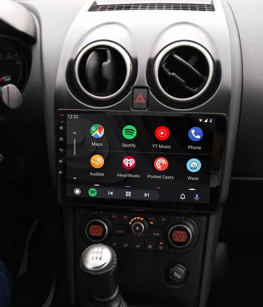Ecran tactile QLED Android 11.0 + Apple Carplay sans fil Nissan Qashqai de 2007 à 2013
