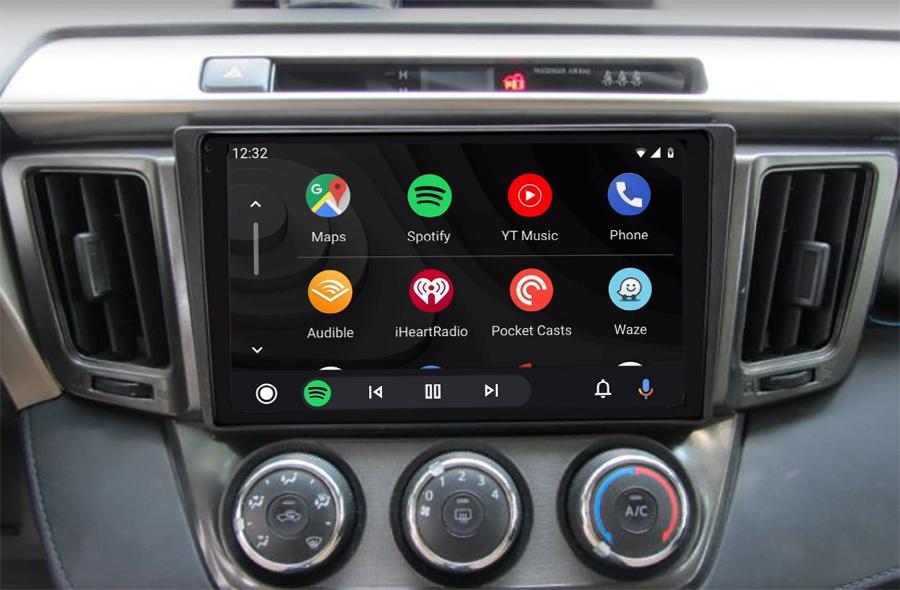 Ecran tactile QLED Android 11.0 + Apple Carplay sans fil Toyota RAV4 de 2013 à 2018