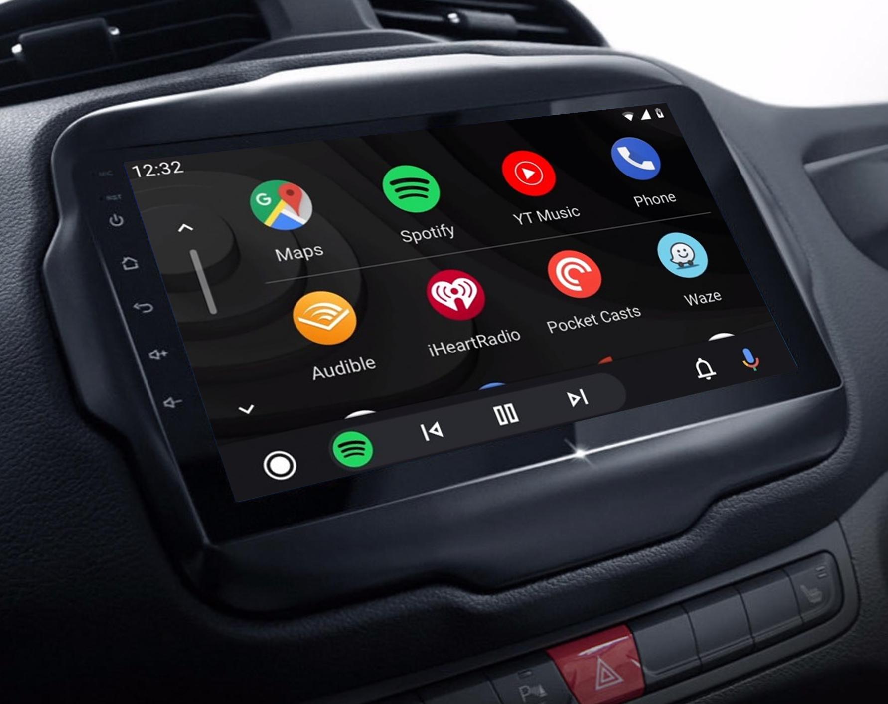 Ecran tactile QLED Android 11.0 + Apple Carplay sans fil Jeep Renegade de 2015 à 2019
