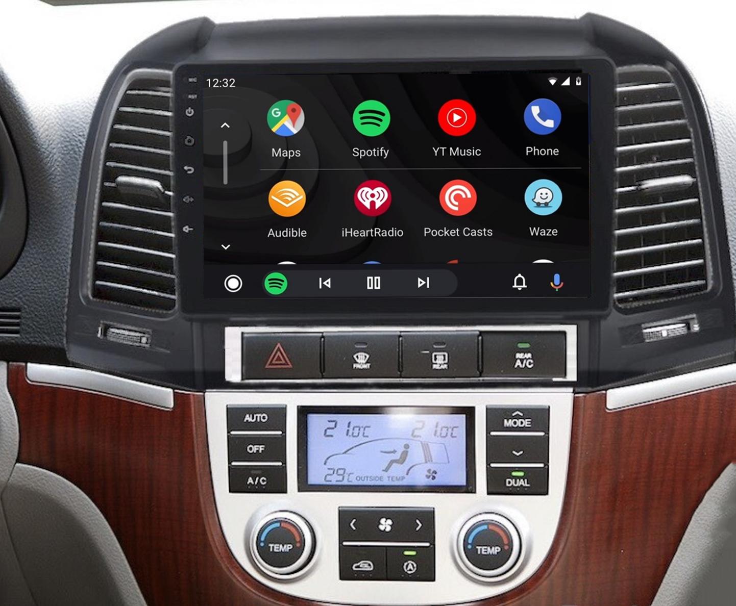 Ecran tactile QLED Android 11.0 + Apple Carplay sans fil Hyundai Santa Fe de 2006 à 2012