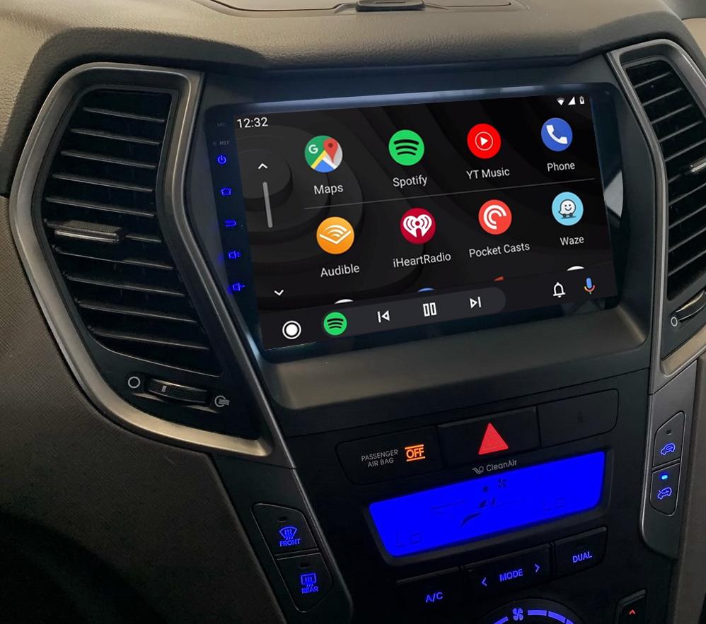 Ecran tactile QLED Android 11.0 + Apple Carplay sans fil Hyundai Santa Fe de 2013 à 2018