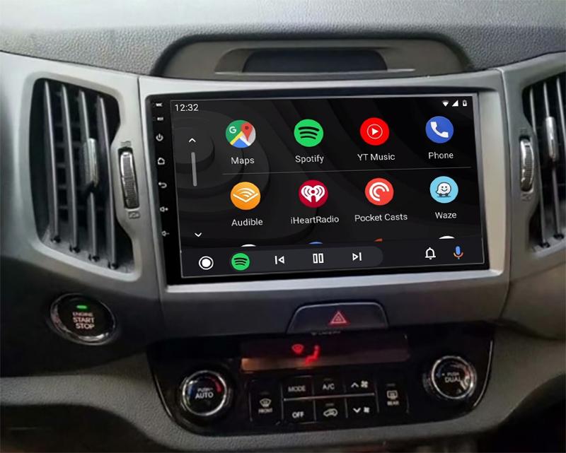 Ecran tactile QLED Android 11.0 + Apple Carplay sans fil Kia Sportage de 2010 à 2014