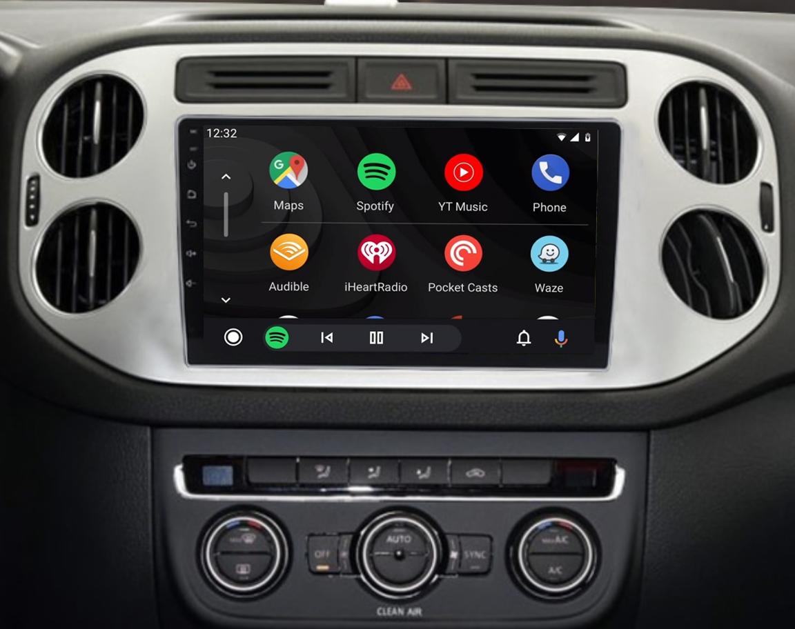 Ecran tactile QLED Android 11.0 + Apple Carplay sans fil Volkswagen Tiguan de 2007 à 2016