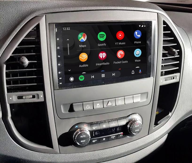 Ecran tactile QLED Android 11.0 + Apple Carplay sans fil Mercedes Vito de 2015 à 2020