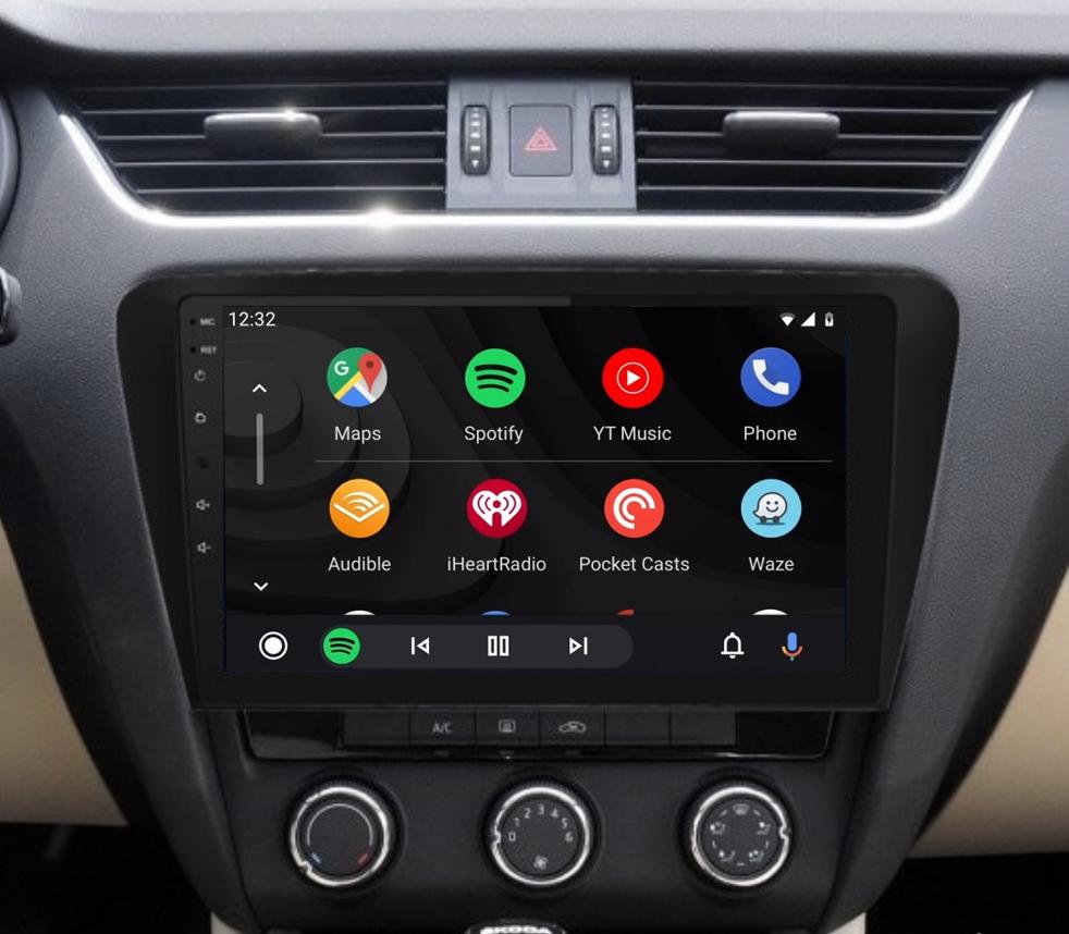 Ecran tactile QLED Android 11.0 Apple Carplay sans fil Skoda Octavia de 2013 à 2020