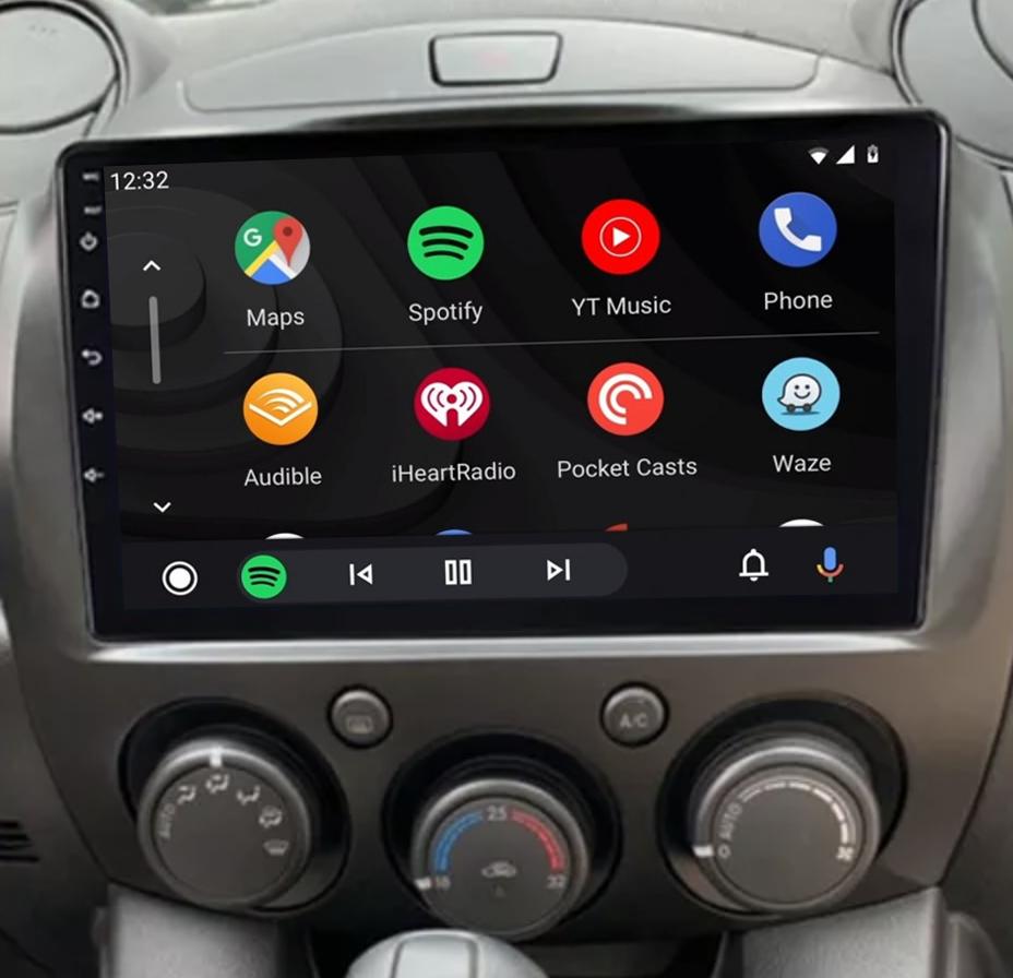 écran tactile QLED Android 11.0 et Apple Carplay sans fil Mazda 2 de 2007 à 2014