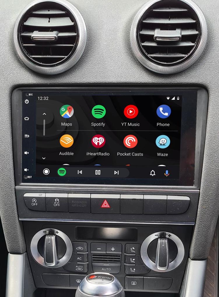 écran tactile QLED Android et Apple Carplay sans fil Audi A3 de 2003 à 2012