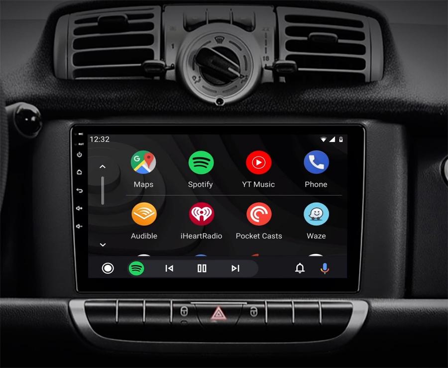 écran tactile QLED Android et Apple Carplay sans fil Smart Fortwo de 2010 à 2015