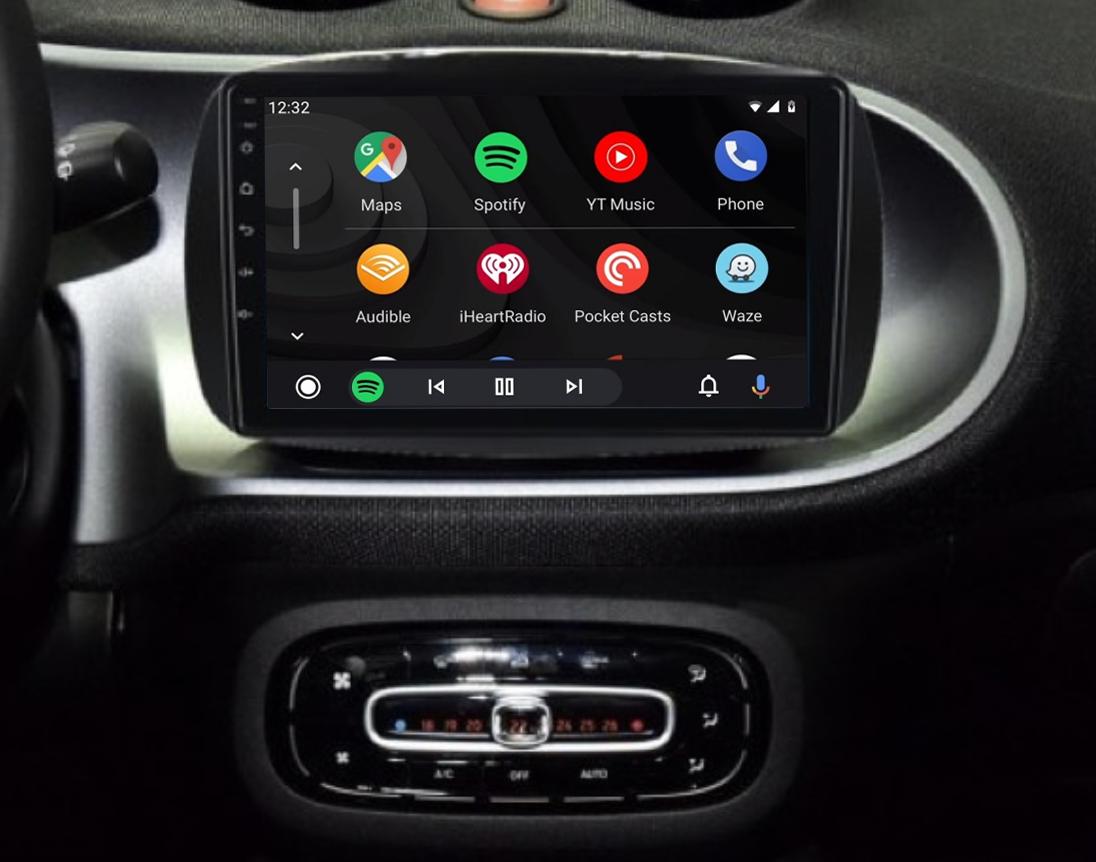 écran tactile QLED Android et Apple Carplay sans fil Smart Fortwo de 2015 à 2019