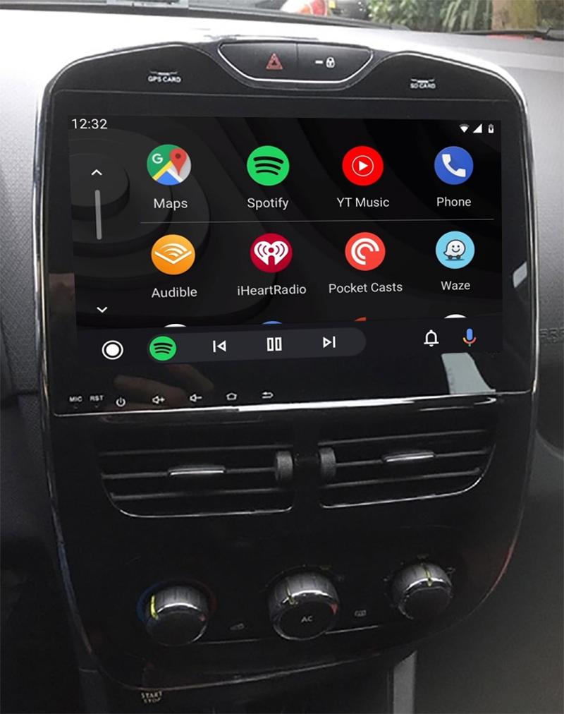 Ecran tactile QLED Android 11.0 Apple Carplay sans fil Renault Clio 4 de 2012 à 2018