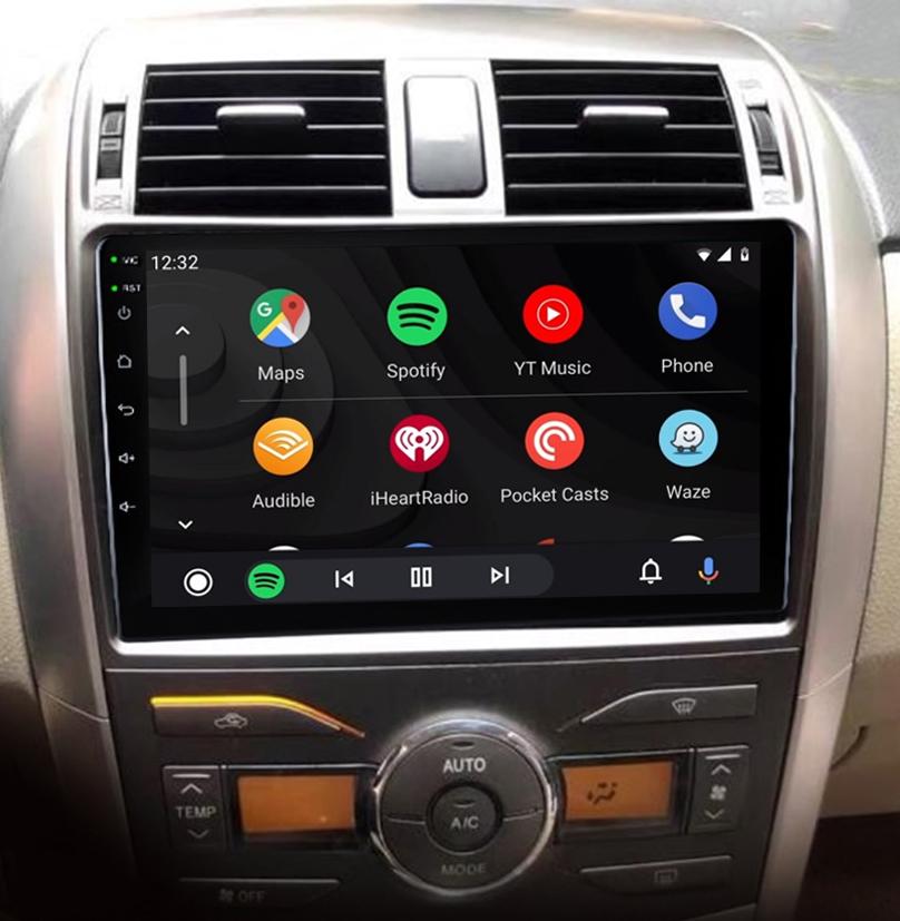 écran tactile QLED Android et Apple Carplay sans fil Toyota Corolla de 2008 à 2013
