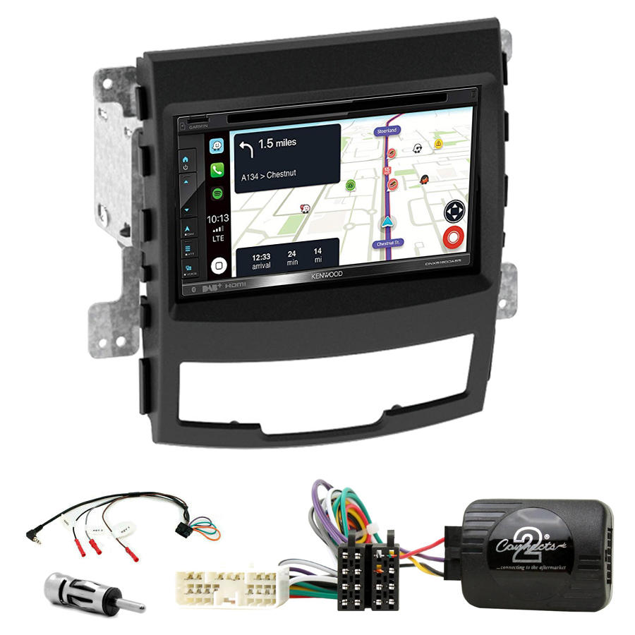 Kit d\'intégration Ssangyong Korando de 2010 à 2014 + Autoradio tactile Navigation GPS