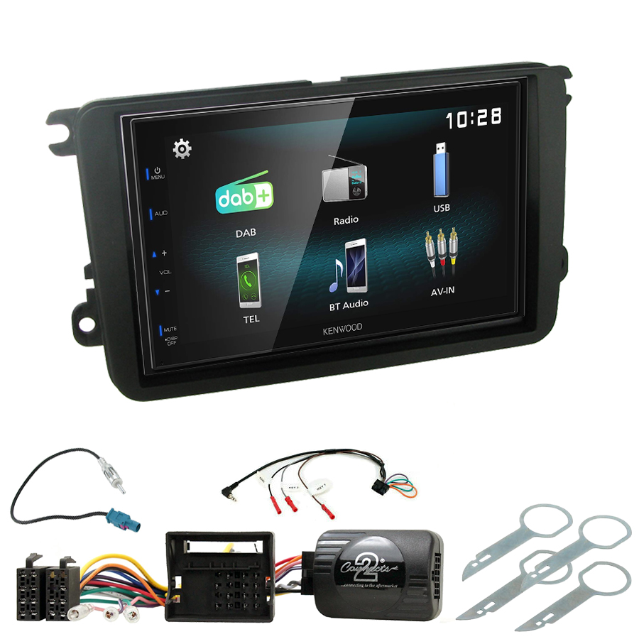 Kit d\'intégration Skoda Fabia, Yeti, Octavia, Roomster, Superb et Rapid + Autoradio multimédia à écran tactile