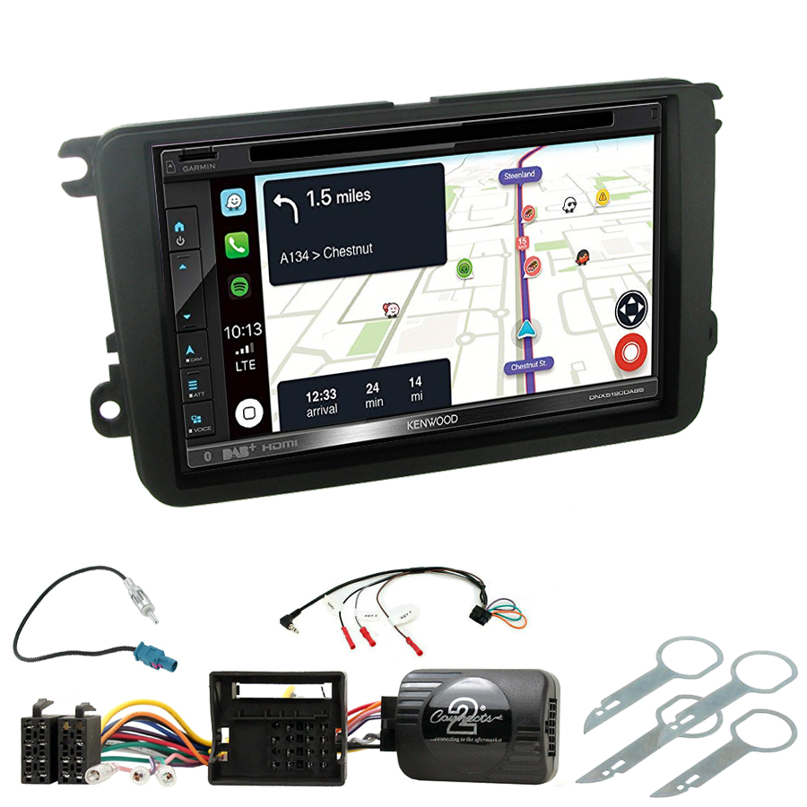 Kit d\'intégration Skoda Fabia, Yeti, Octavia, Roomster, Superb et Rapid + Autoradio tactile Navigation GPS