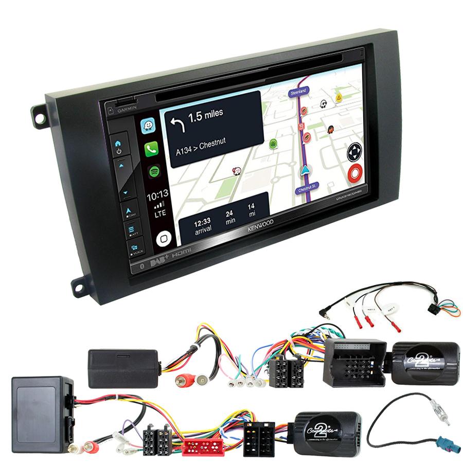 Kit d\'intégration Porsche Cayenne de 2002 à 2010 + Autoradio tactile Navigation GPS