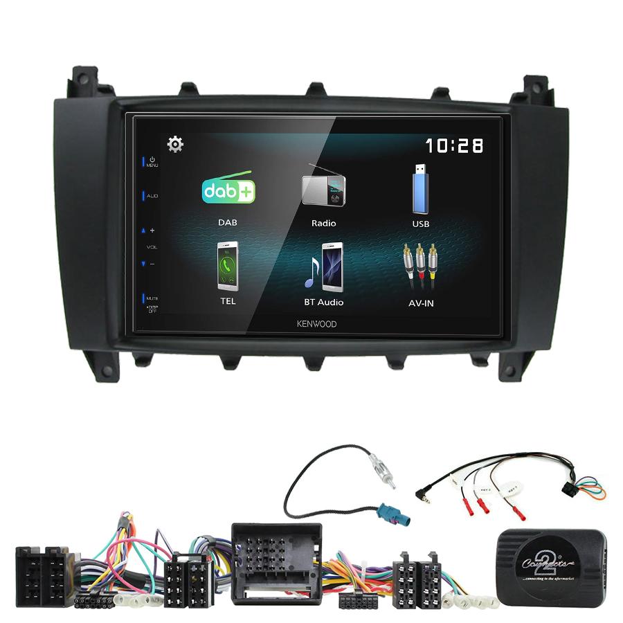Kit d\'intégration Mercedes Classe C W203 et Mercedes CLC + Autoradio multimédia à écran tactile