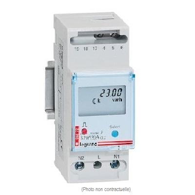 LEGRAND - Compteur modulaire monophasé - Raccordement direct - 63A - Sortie  à impulsion RS485 - Réf - 412080