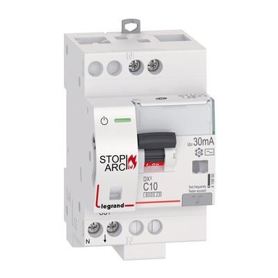 LEGRAND - Disjoncteur Différentiel DX³ STOP ARC 4500 à vis 1P+N 230V~ 10A typeAC 30mA courbe C - 3 modules - Réf - 415950