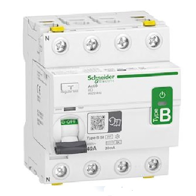 SCHNEIDER-ELECTRIC - Acti9 - interrupteur différentiel - 4P - 40A - 30mA - type B - SI - 400V - Réf - A9Z61440