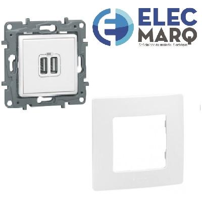 Les Complets LEGRAND NILOE  Prise USB + Plaque - Blanc - avec Elecmarq