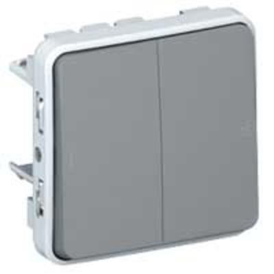 LEGRAND - Double poussoir NO+NF Plexo composable IP55 10A - gris - Réf - 069545