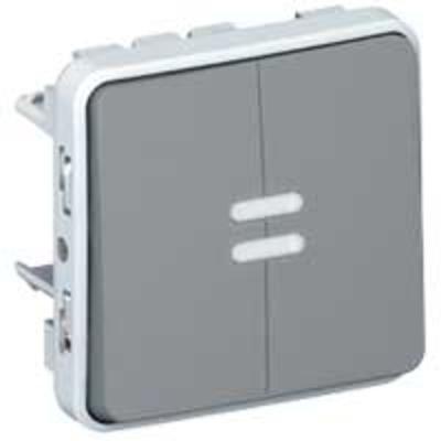 LEGRAND - Double poussoir inverseur NO+NF lumineux Plexo composable IP55 10A - gris - Réf - 069546