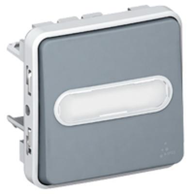 LEGRAND - Poussoir inverseur NO+NF lumineux avec porte-étiquette Plexo composable IP55 10A - gris- REF 069544