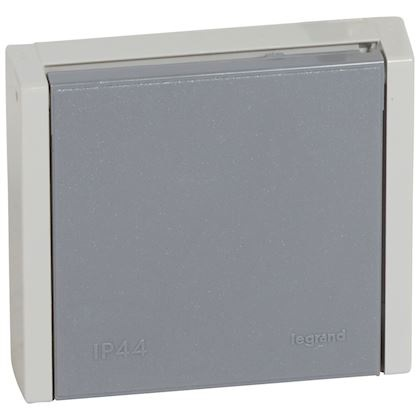 LEGRAND - Prise de courant 3P+N+T 20A à fixer sur boîte Ø67mm ou cadre saillie Plexo complet IP44 encastré - gris - REF 055708