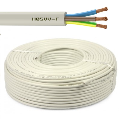 CAE - Câble d\'alimentation souple harmonisé 3G1.5mm² - Blanc - Couronne 50m - Réf - HO5VV-F3G1.5