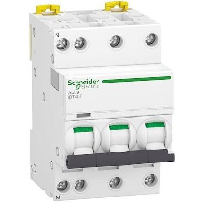 SCHNEIDER ELECTRIC - Acti9 iDT40T disjoncteur modulaire - 3P+N - 10A - courbe C - 4500A/6kA - Réf - A9P22710