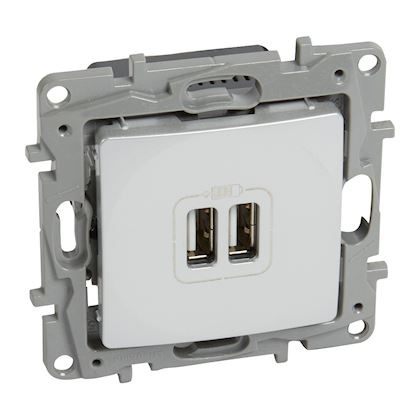 LEGRAND - Chargeur 2 USB Type-A 2,4A 12W Niloé - finition Pur - Réf - 664794