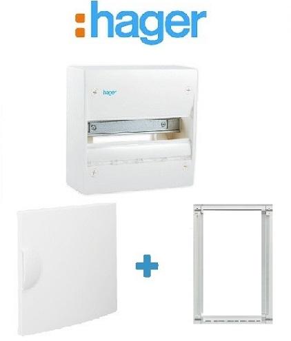 HAGER - PACK Coffret + Porte + Réhausse - Coffret 13 modules et 1 rangée