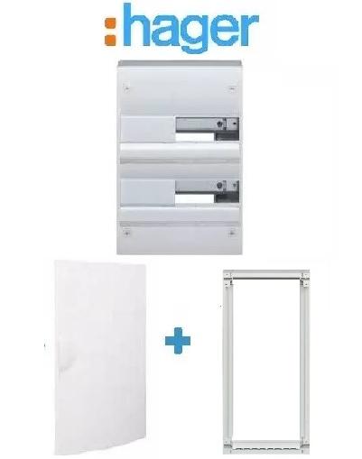 HAGER - PACK Coffret + Porte + Réhausse - Coffret 26 modules et 2 rangées