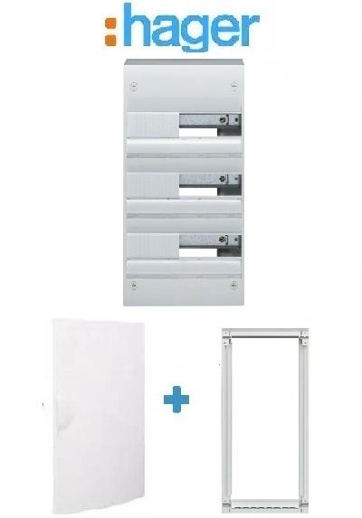 HAGER - PACK Coffret + Porte + Réhausse - Coffret 39 modules et 3 rangées