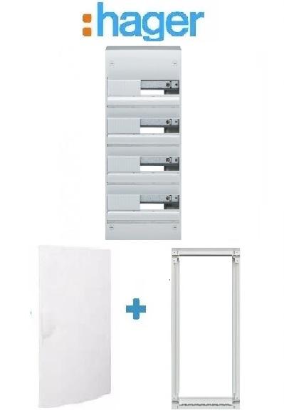 HAGER - PACK Coffret + Porte + Réhausse - Coffret 52 modules et 4 rangées